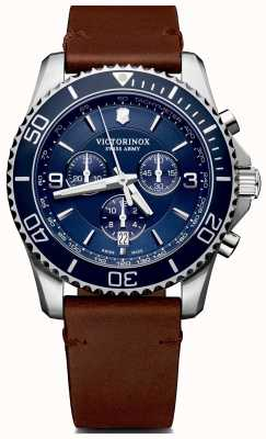 Victorinox Swiss Army | Mens Maverick Chrono | Blue Dial | Brown Leather Strap | 241865