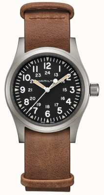 Hamilton | Khaki Field Mechanical | Black Dial | Brown Leather Strap H69439531