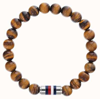 Tommy Hilfiger Mens Tigers Eye Beaded Bracelet 2790067