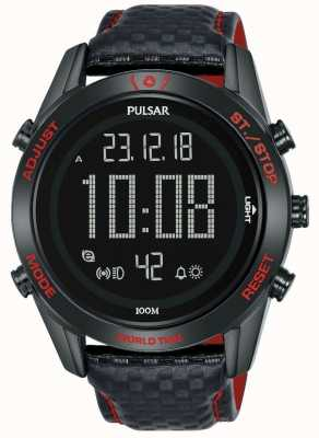 Pulsar | The Rally Sport Collection | Digital | Black Leather Strap P5A039X1