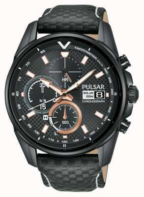 Pulsar | Accelerator Chronograph | Black Leather Strap | Black Dial PZ6033X1