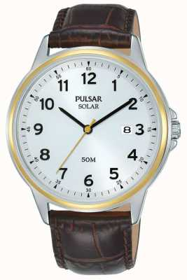 Pulsar | Solar | Brown Leather Strap | Silver Dial | Gold Case PX3198X1