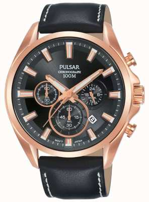 Pulsar | Mens Black Leather Strap | Black Dial | Rose Gold Case | PT3A28X1