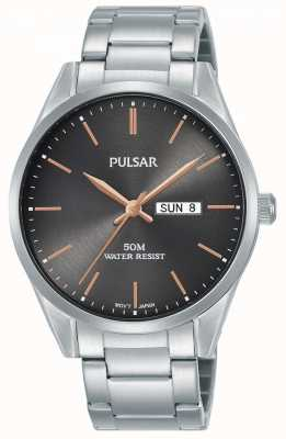 Pulsar   Mens Day/Date   Stainless Steel Bracelet   Grey Dial   PJ6111X1