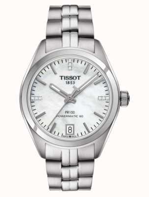 Tissot Womens PR 100 Powermatic 80 Stainless Steel Mother of Pearl T1012071111600