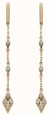 Elements Gold 9k Yellow Gold Deco Diamond Drop Earrings GE2277