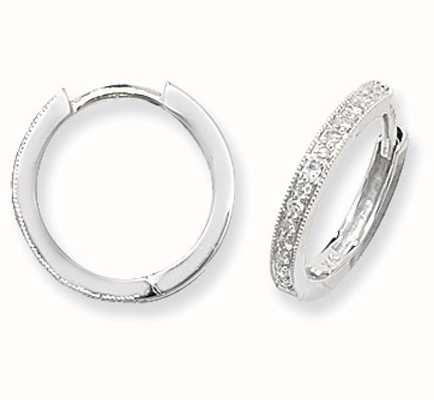 Treasure House 9k White Gold Diamond Set Hoop Earrings ED115W