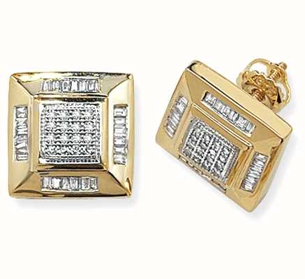 Treasure House 9k Yellow Gold Square Diamond Set Stud Earrings ED133