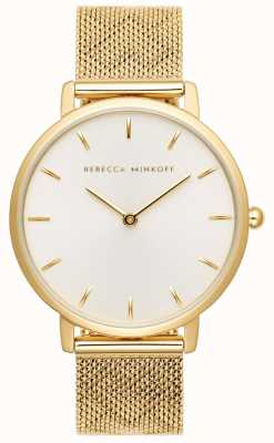 Rebecca Minkoff Womens Major | Gold Plated Mesh Bracelet | SilverWhite Dial 2200298