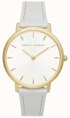Rebecca Minkoff Womens Major | Grey Leather Strap | Silver/White Dial | 2200289