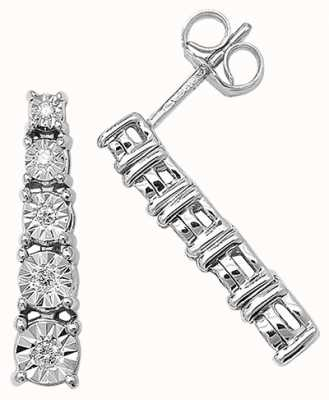 Treasure House 9k White Gold Illusion Set Diamond Bar Earrings ED160W