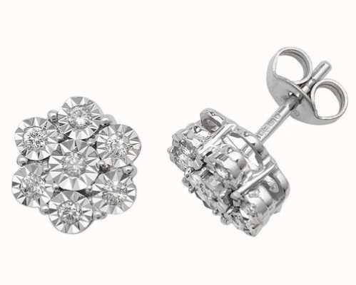 Treasure House 9k White Gold Illusion Set Diamond Flower Stud Earrings ED161W