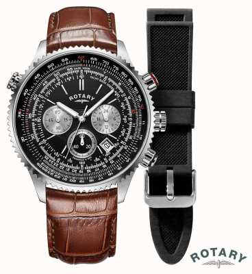 Rotary | Mens | Pilots Chronograph Watch | Interchangeable Strap | GS00100/04/KIT