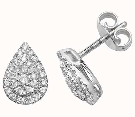 Treasure House 9k White Gold Diamond Pear Earrings ED307W
