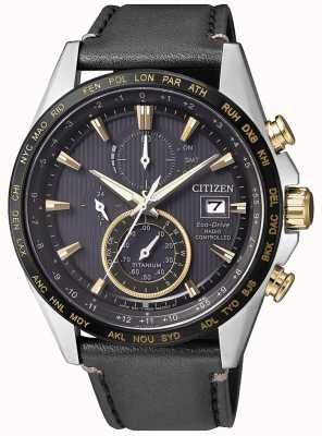 Citizen | Mens Eco-Drive World Chronograph A.T | Black Leather Strap AT8158-14H