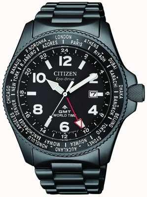 Citizen | Mens Eco-Drive Promaster GMT |Black Dial | Grey PVD BJ7107-83E