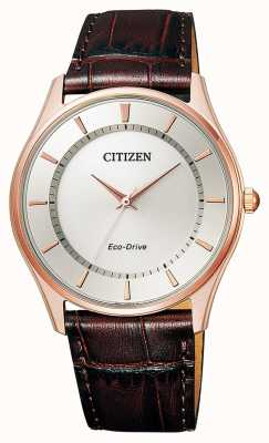 Citizen | Mens Eco-Drive | Brown Leather Strap | Silver Dial | BJ6483-01A