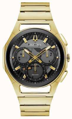 Bulova | Curv | Mens | Gold Tone Bracelet | Black Chrono Dial | 97A144