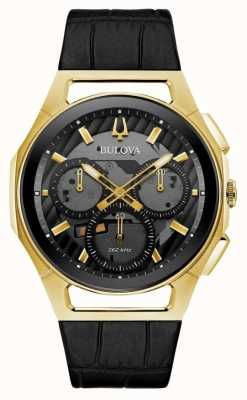 Bulova | Curv | Mens | Chronograph | Black Leather Strap | 97A143