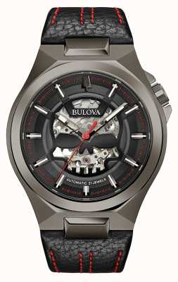 Bulova Mens Maquina | Automatic | Black Leather Strap | Black Dial 98A237