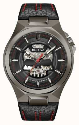 Bulova Mens Maquina | Automatic | Black Leather Strap | Black Dial 98A237