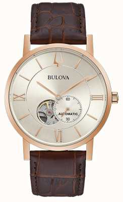 Bulova | Mens | Automatic | Brown Leather Strap | Silver Dial | 97A150