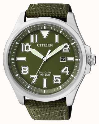 Citizen | Mens Eco-Drive | Green Nylon Strap | Green Dial | AW1410-32X