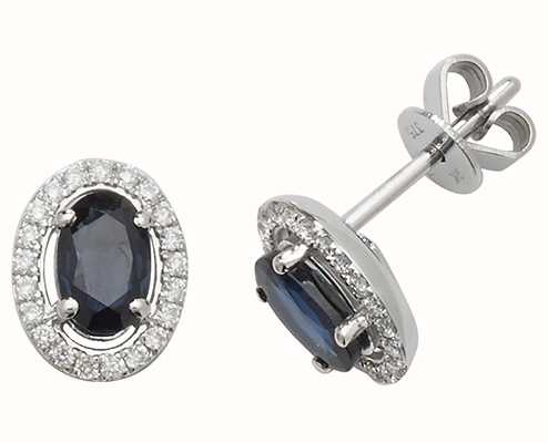 Treasure House 9k White Gold Sapphire Diamond Halo Stud Earrings ED247WS