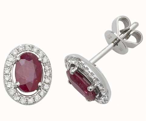 Treasure House 9k White Gold Ruby Diamond Halo Stud Earrings ED247WR