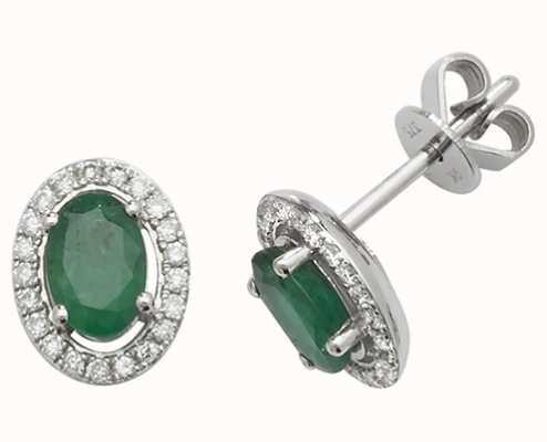 Treasure House 9k White Gold Emerald Diamond Halo Stud Earrings ED247WE