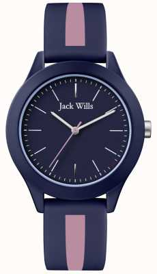 Jack Wills | Mens Union | Navy Dial | Pink/Navy Silicone Strap | JW009BLPST