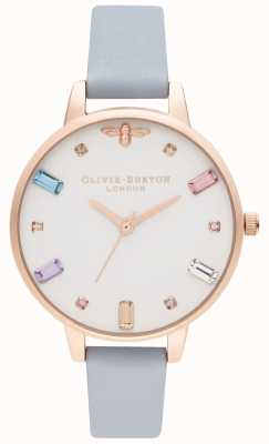 Olivia Burton | Womens | Rainbow Bee | Demi Chalk Blue Strap | OB16RB12