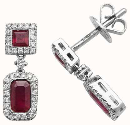 Treasure House 9k White Gold Diamond Ruby Drop Earrings ED253WR