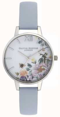 Olivia Burton | Womens | Enchanted Garden | Chalk Blue Leather Strap | OB16EG114