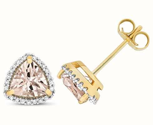 Treasure House 9k Yellow Gold Diamond Morganite Trillion Stud Earrings ED256M