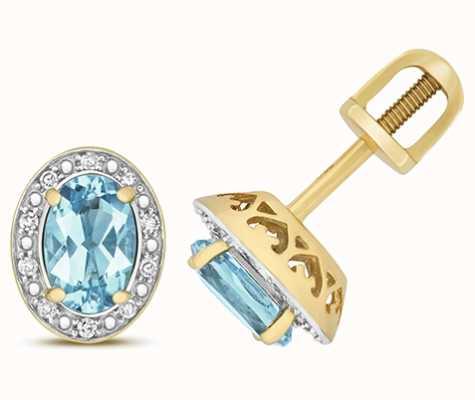 Treasure House 9k Yellow Gold Diamond Blue Topaz Oval Stud Earrings ED258BT