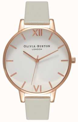 Olivia Burton | Womens | White Dial | Grey Leather Strap | OB15BDW02
