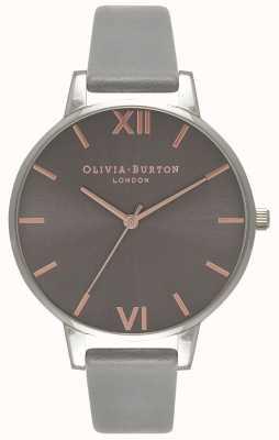Olivia Burton | Womens | Big Grey Dial | Grey Leather Strap | OB16BD90
