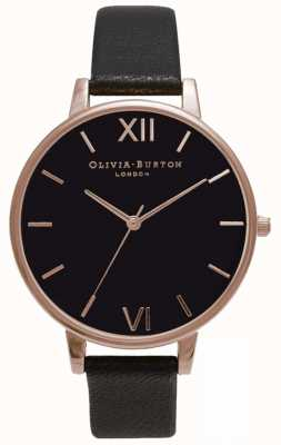Olivia Burton | Womens | Black Dial | Black Leather Strap | OB15BD66