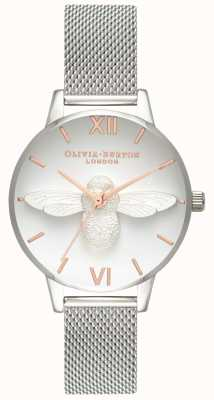 Olivia Burton | Womens | 3D Bee | Stainless Steel Mesh Bracelet| OB16AM146