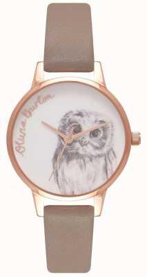 Olivia Burton | Womens | Owl Motif | Iced Coffee Leather Strap | OB16AM110