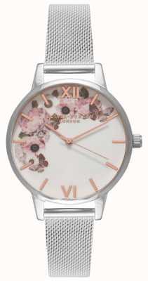 Olivia Burton   Womens   Signature Florals Dial   Steel Mesh Bracelet   OB16WG30