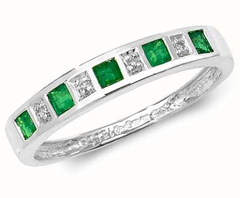 Treasure House 9k White Gold Emerald and Diamond Ring RD217WE