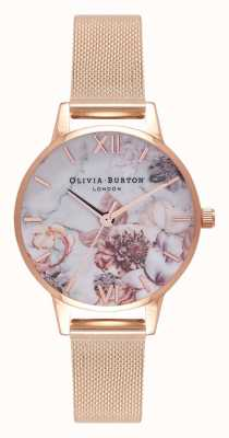 Olivia Burton | Womens | Marble Florals | Rose Gold Mesh Bracelet | OB16CS06
