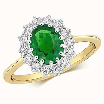 Treasure House 9k Yellow Gold Emerald Diamond Cluster Ring RD280E