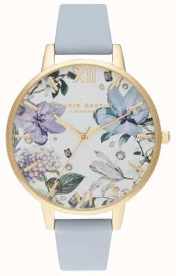 Olivia Burton | Womens | Bejewelled Florals | Chalk Blue Leather Strap | OB16BF21