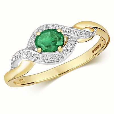 Treasure House 9k Yellow Gold Emerald Diamond Oval Ring RD435E