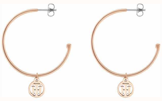 Tommy Hilfiger | Womens | Rose Gold | Half Hoop Logo Earrings | 2780024