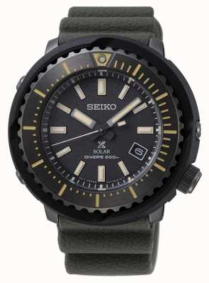 Seiko Prospex Solar Men's  Black Dial Diver's 200m | Green Strap | SNE543P1