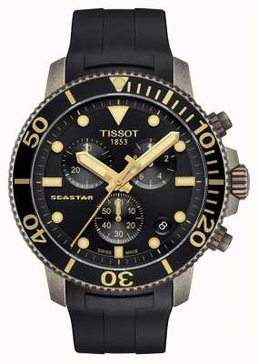 Tissot | Mens Seastar | Black Chronograph Dial | Black Rubber Strap T1204173705101